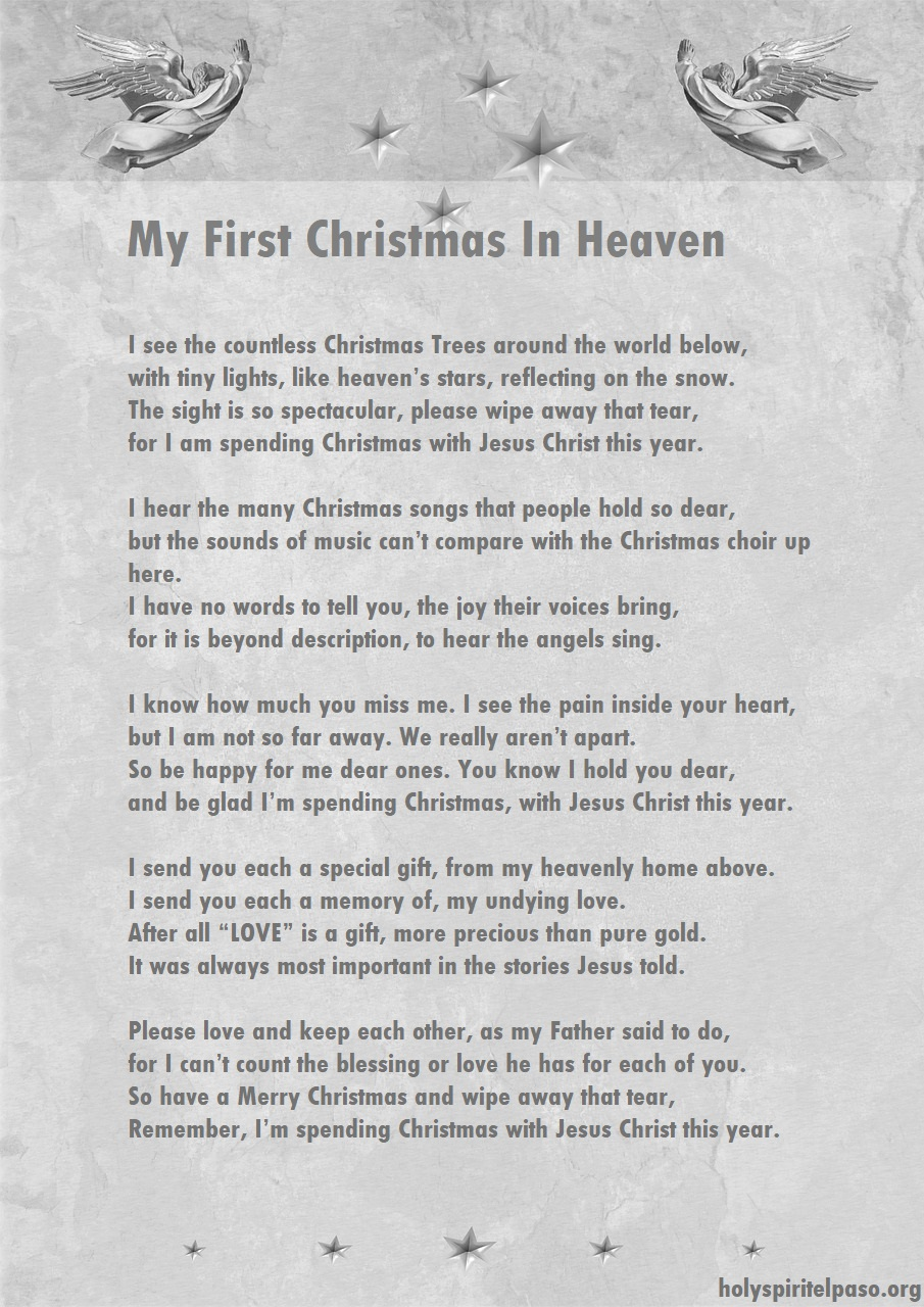 """My First Christmas In Heaven"" - Christmas Poem (Printable Free)"